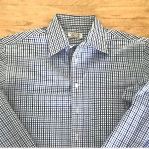 NWOT Merona Iron Free Blue White Plaid Dress Shirt